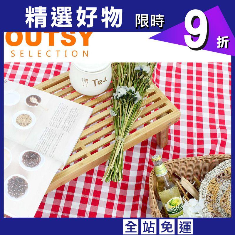 【OUTSY】台灣製戶外兩用防撥水桌巾/野餐墊 經典格紋 特大款