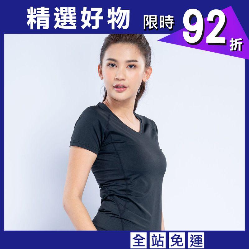 clubFit-長效吸濕排汗V領T恤-女款